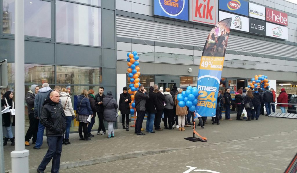 The queue outside our first opening in Poland